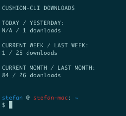 prompt with npm statistic for cushion-cli