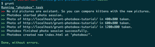 output of photobox grunt command